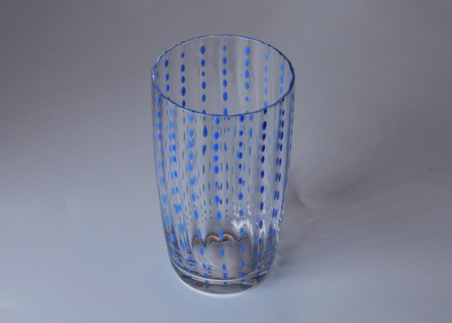 Mouth Blown Blue Dots Glass Candle Jar China Candle