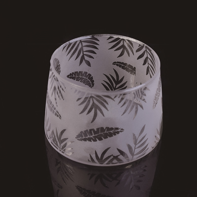 Newly White Frosted Bamboo Leaves Laser Glass Candle Jars