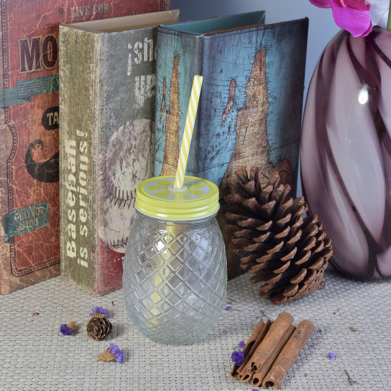 Pineapple Glass Drinking Jar With Lid, Pineapple Shaped