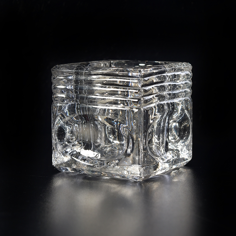 Square Pattern Glass Candle Holders