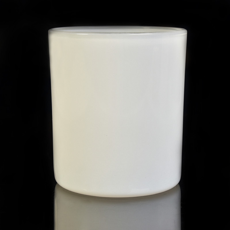 Stock White Painting Glass Candle Holder With Wooden Lid