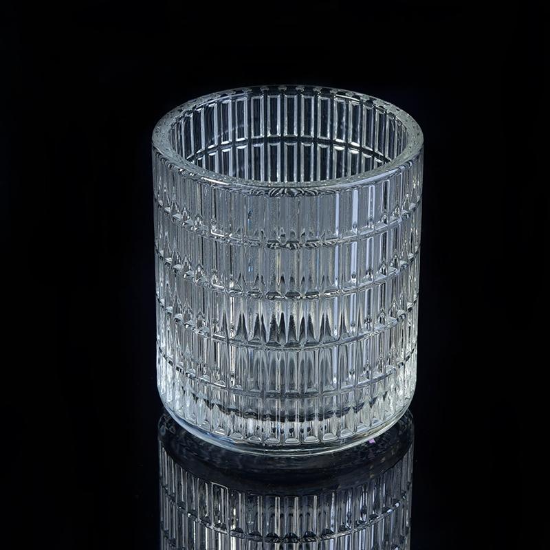Stripe Debossed Clear Cylinder Glass Candle Jar Wholesale