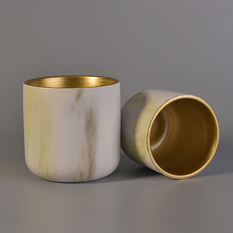 500ml Ceramic Candle Holders With Hand Painting Design