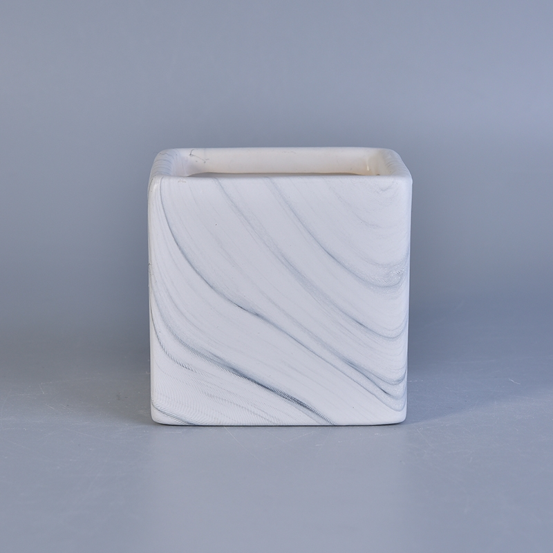 Transfer Printing Cube Ceramic Candle Containers