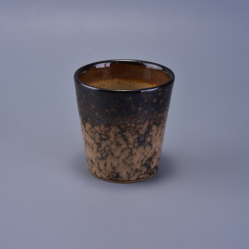 Unique design transmutation glaze ceramic candle holders
