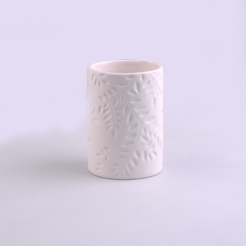 White Ceramic Decorative Candle Holder Ceramic Candle