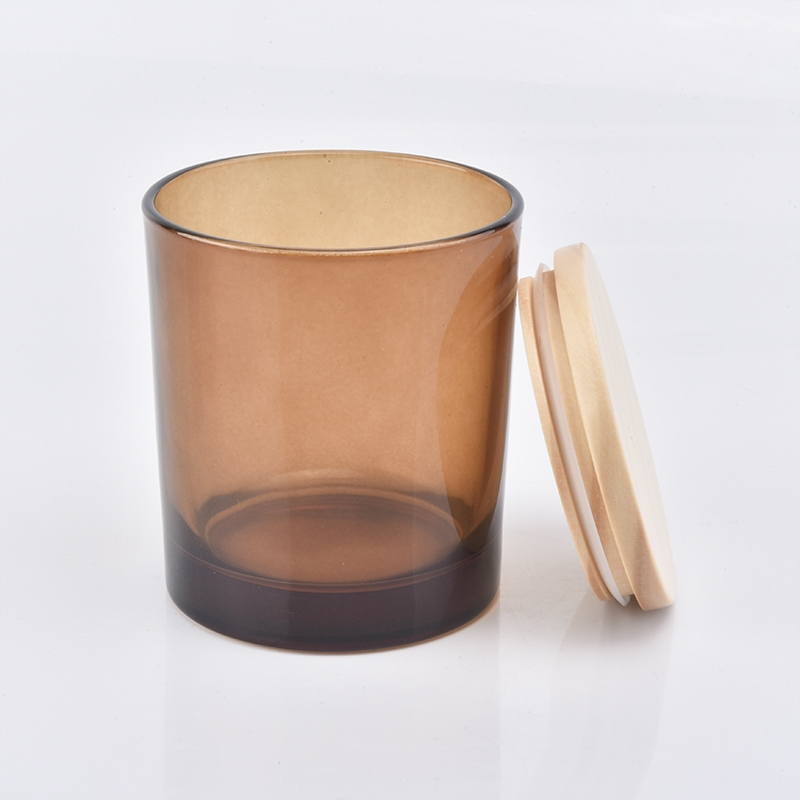 Wholesale Amber Glass Candle Jars With Wood Lids