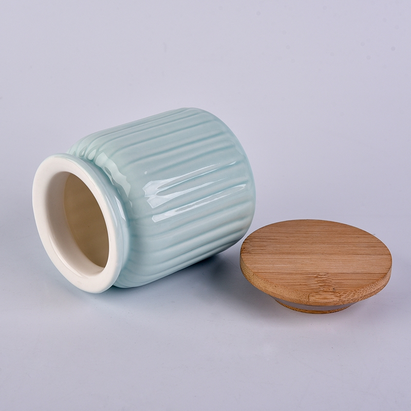 Wholesale blue containers ceramic colored candle jar with