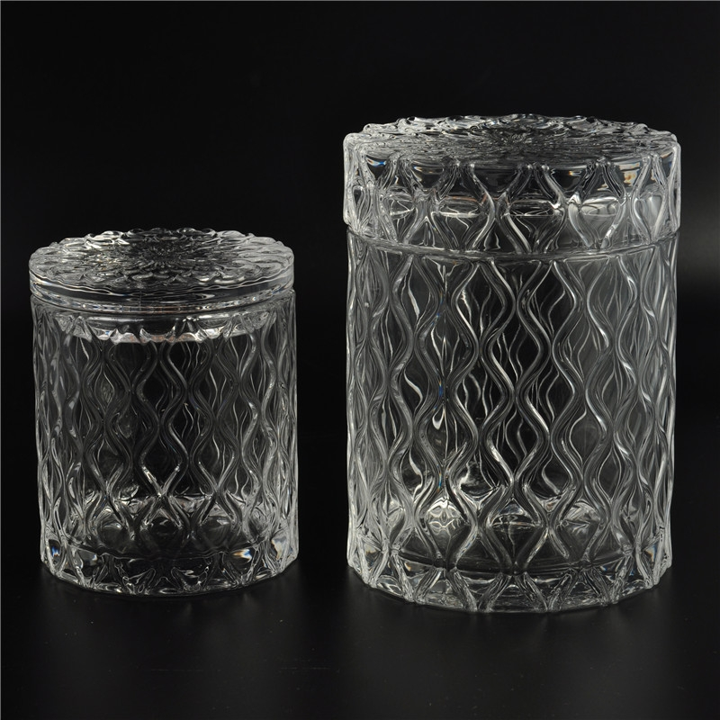 Decorative Glass Product : Wholesale decorative glass candle jar with lid