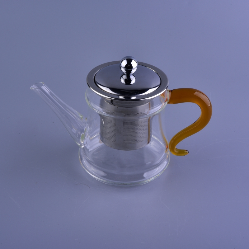 Wholesale Promotional Clear Glass Teapot Yellow Handle
