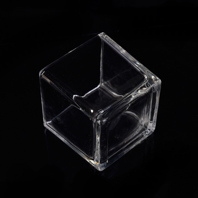 Wholesale square clear glass candle holders, machine made ...