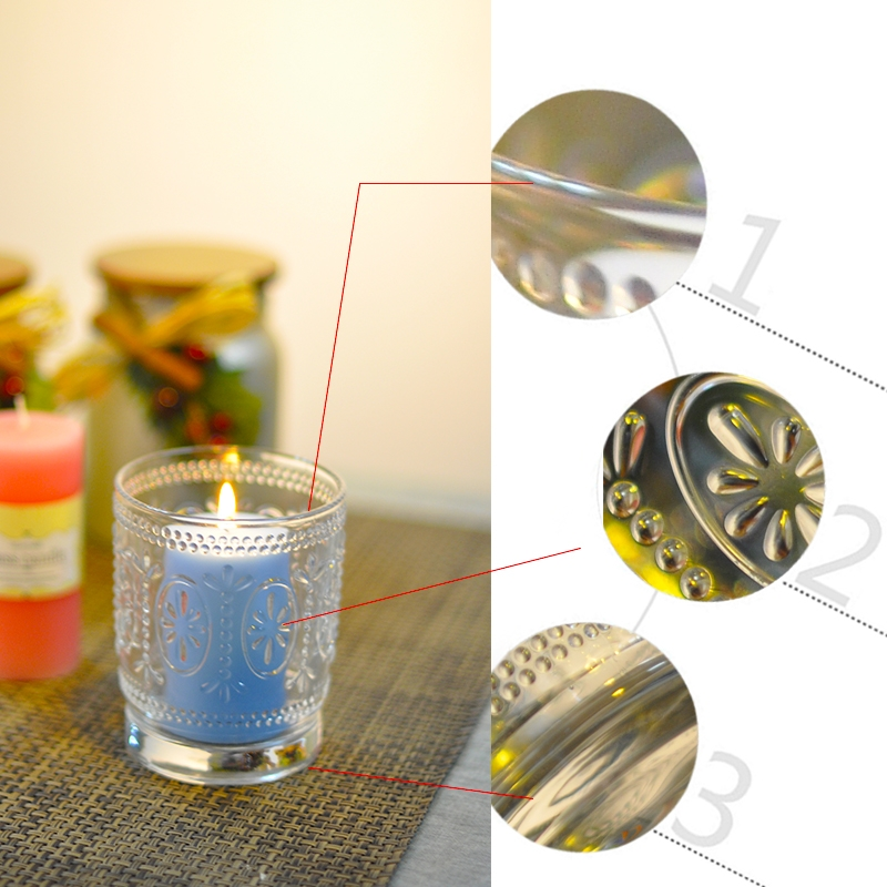Clear Glass Tea Light Candle Holders With Pattern Glass