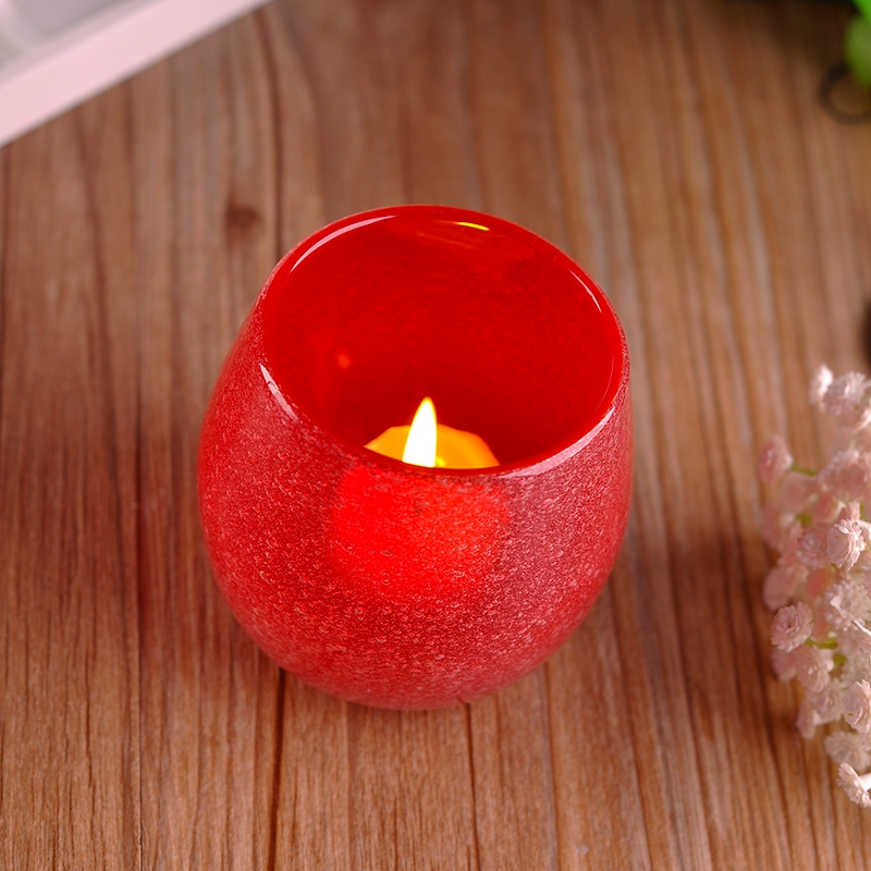 Decorative Glass Candle Containers Colored Glass Wax Container Red Color Glass Candle Jar Votive