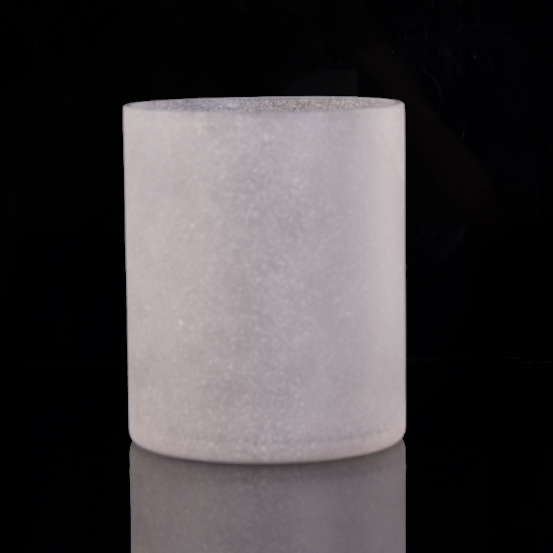 Frosted White Glass Candle Jars