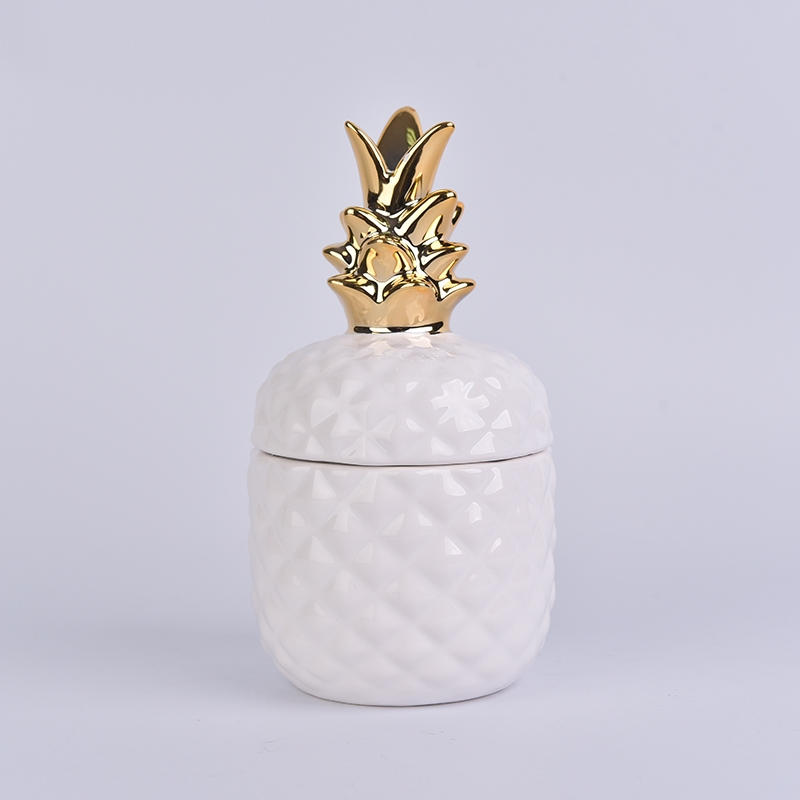Golden Top Ceramic Pineapple Shaped Jar White Glazed
