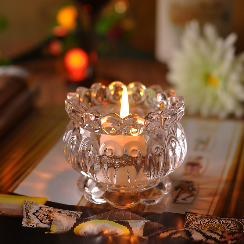 Home decor embossed crystal glass candle jars on for Crystal home decorations