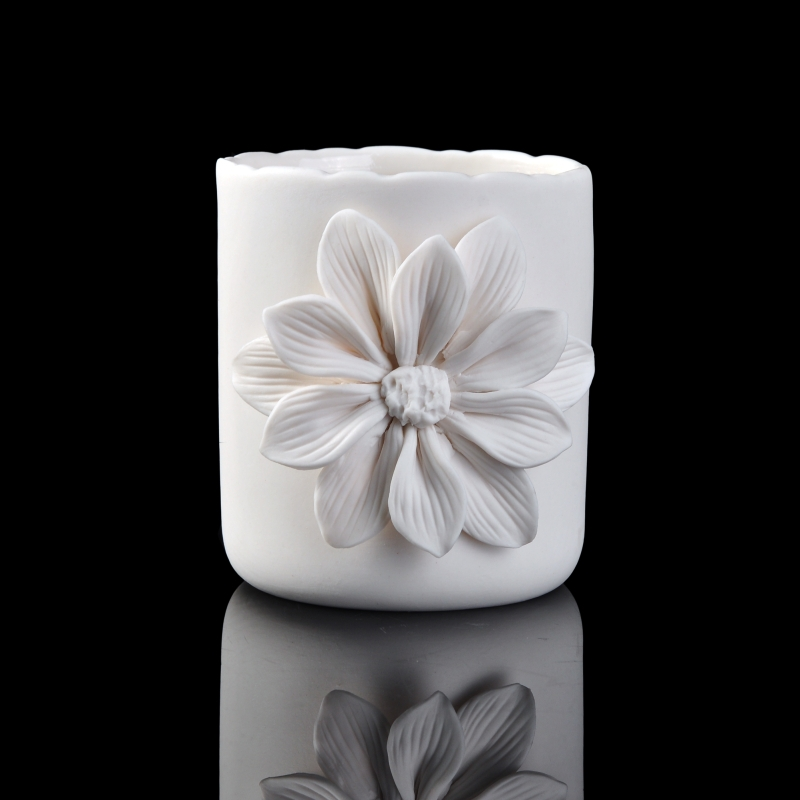 white ceramic flower candle holder on okcandlecom