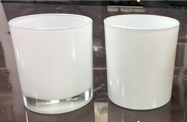 Hot Sale 10oz 14oz 16oz Spray White Glass Candle Jar With