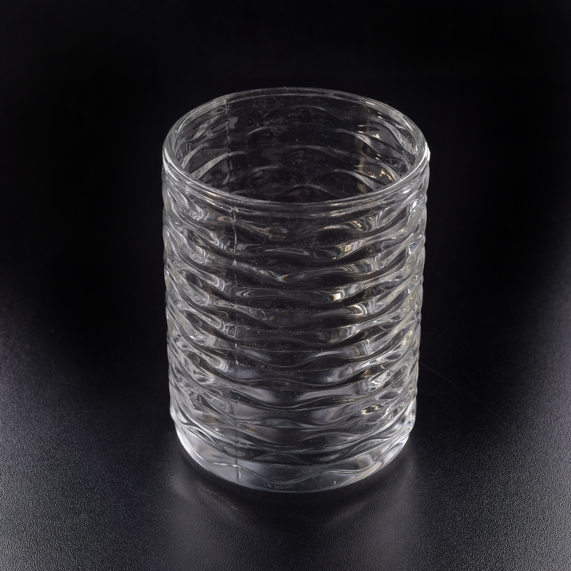 Stripe Glass Candle Vessel For Wholesale Glass Candle