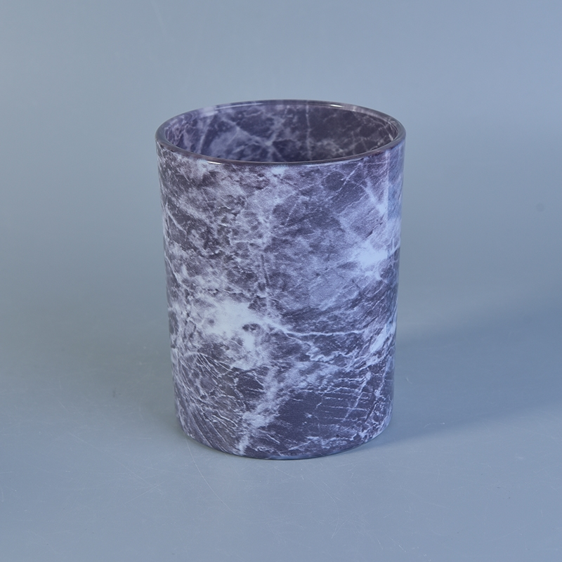 Water Painting Marble Effect Glass Candle Holder On